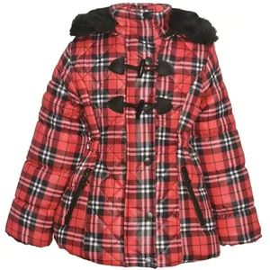 Girl's Plaid Quilted Toggle Hooded Puffer Coat| 6X